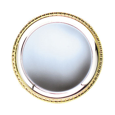 Round Silver Plated Tray with Gold Border 8 inch, 10 inch, 12 inch