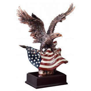 Eagle, Metallic Bronze with Flag 14-1/2 inch