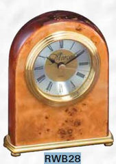 Piano Finish Rosewood and Burl Clock 3-3/4 inch x 5 inch