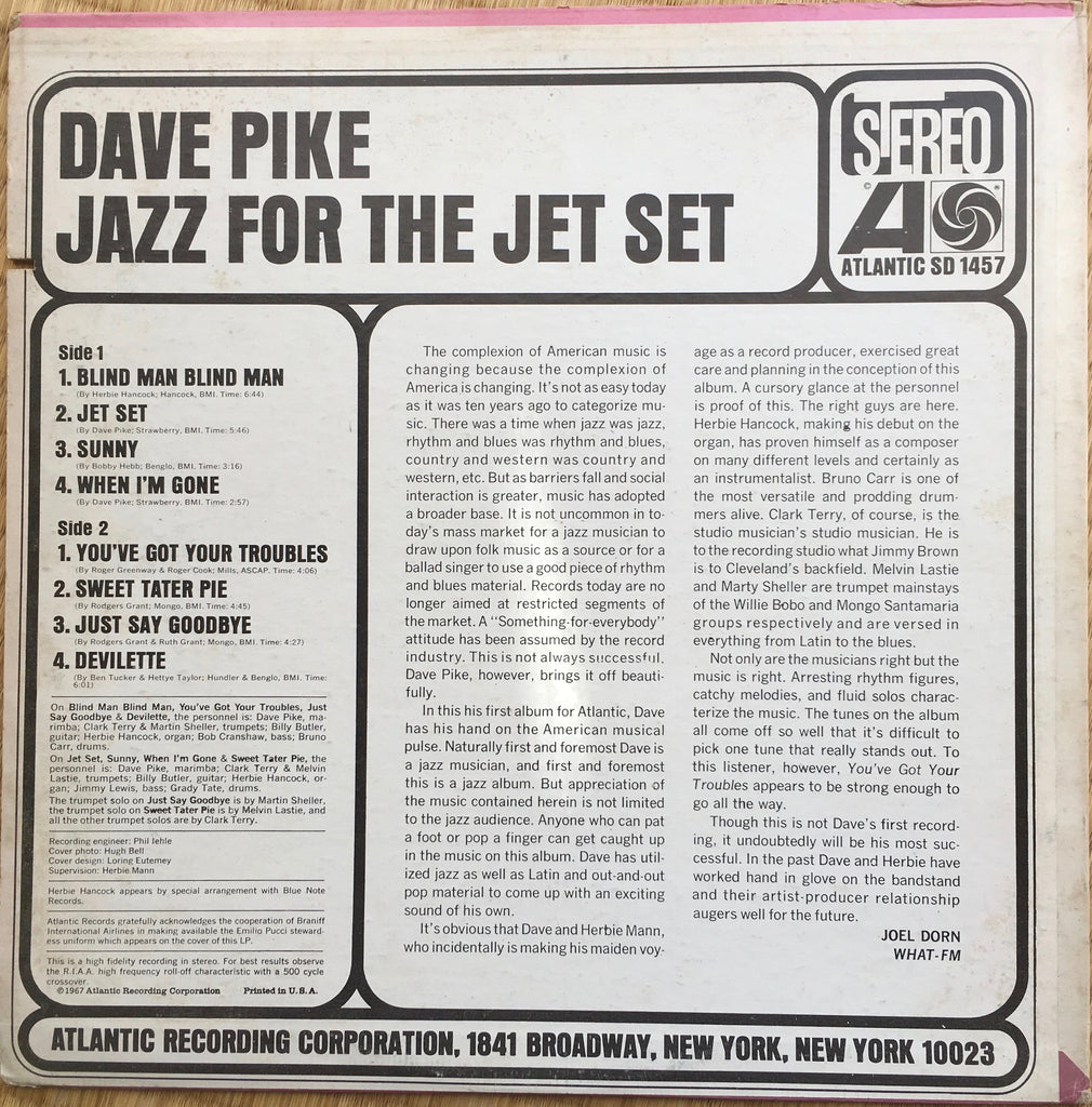 Dave Pike ‎– Jazz For The Jet Set - monads records