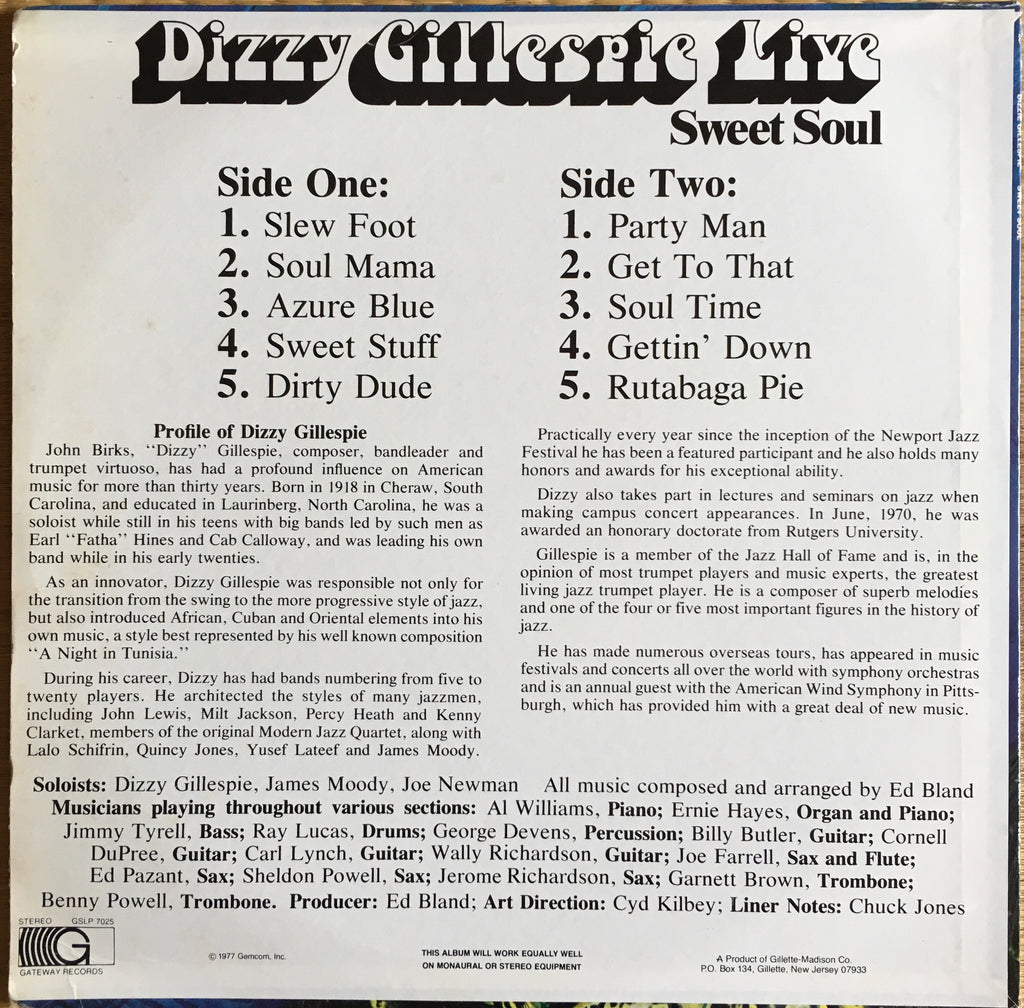 Dizzy Gillespie ‎– Sweet Soul - monads records