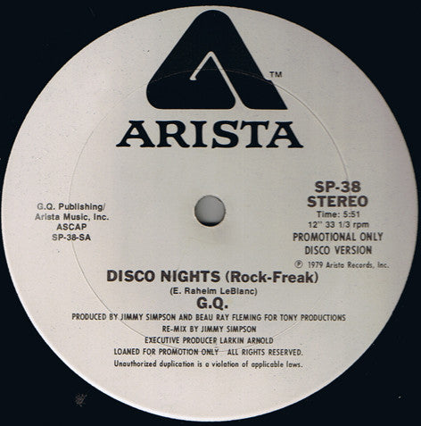 G.Q. ‎– Disco Nights (Rock-Freak) - monads records