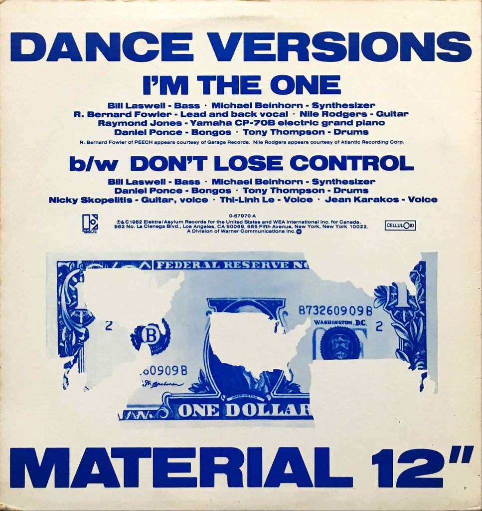 Material ‎– I'm The One-12inch single sleeve image back