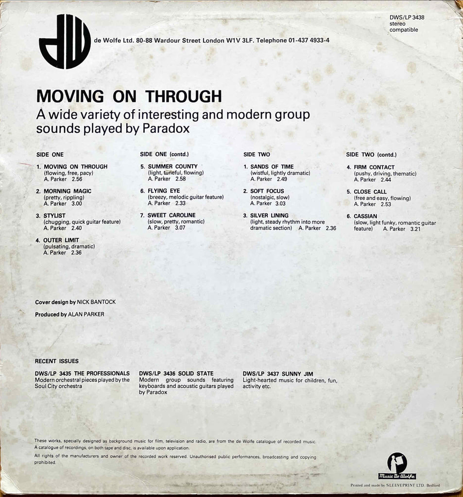 Paradox – Moving On Through sleeve image back