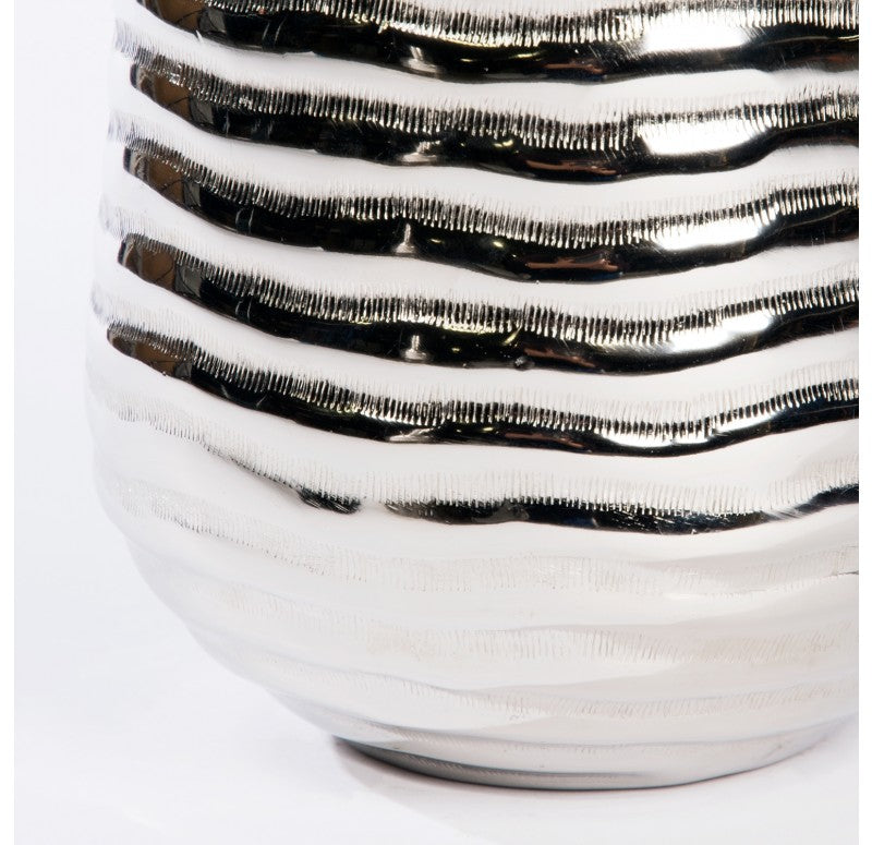 Aluminum Ribbed Planter Vase