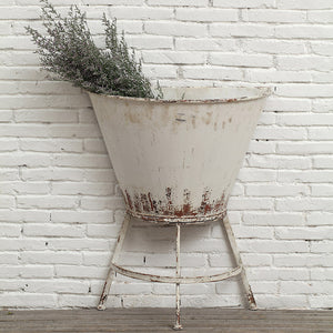 Large Rustic Metal Wall Planter w/ Stand