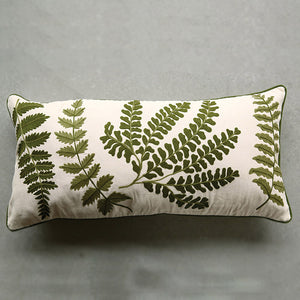 Fern Embroidered Throw Pillow