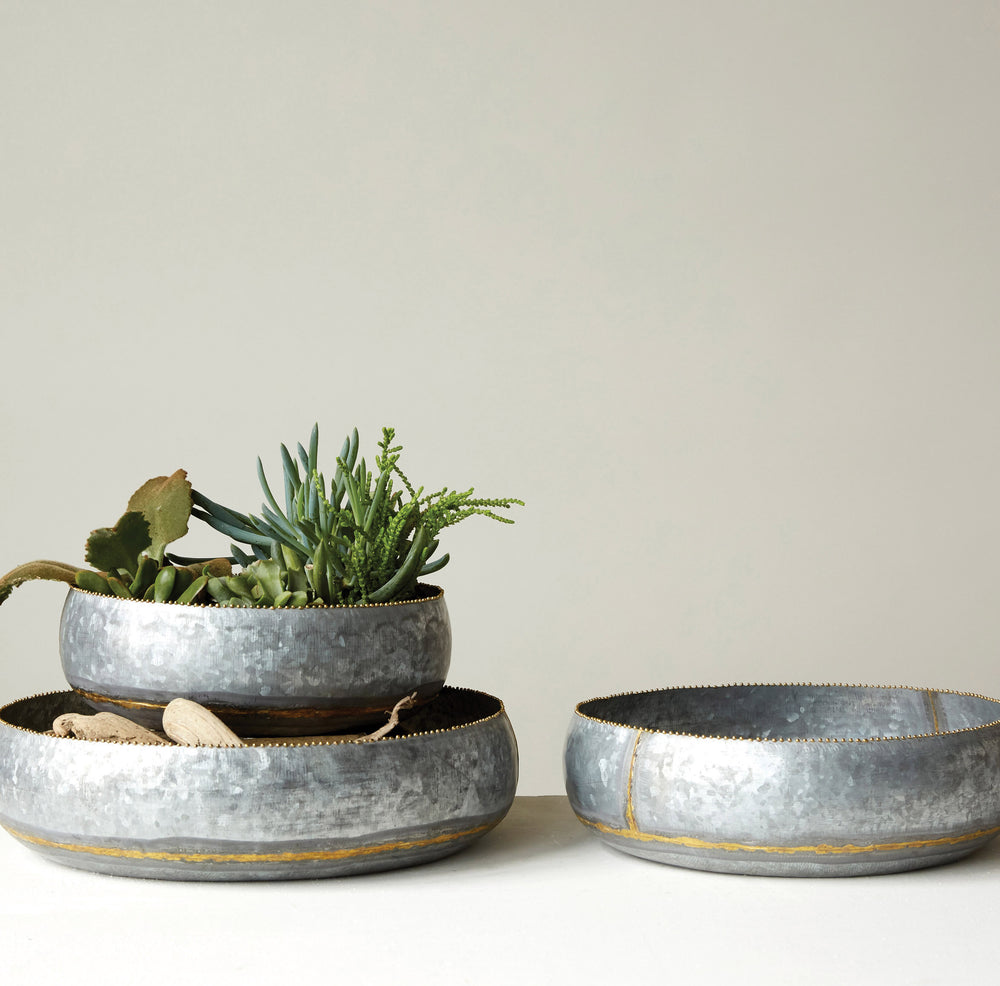 Metal Planters - Accent Metal Bowls (set of 3)