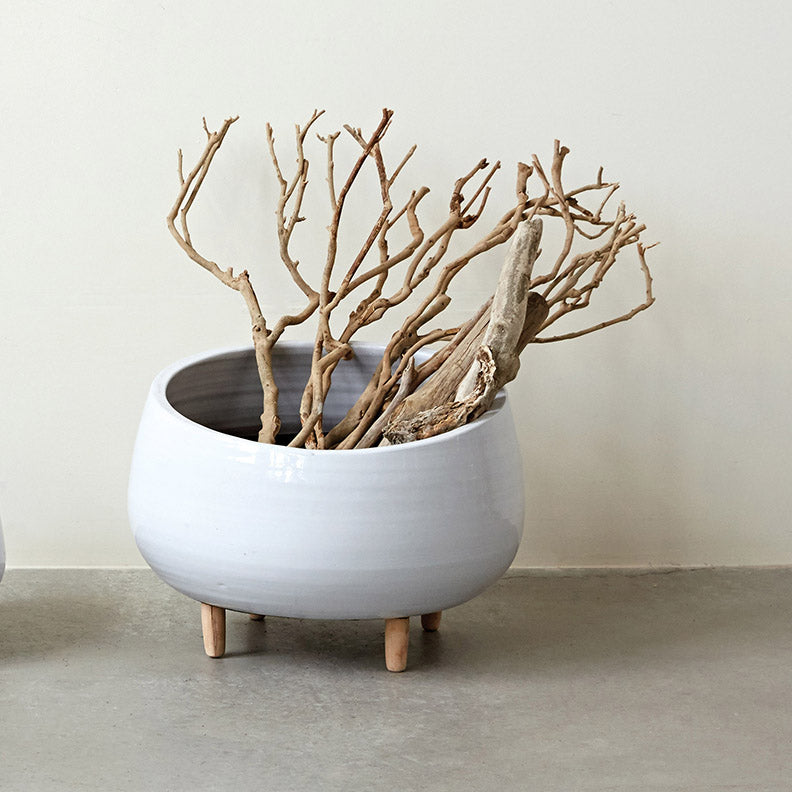 White Round Ceramic Planter with Feet