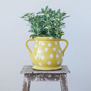 Yellow Ceramic Planter with White Dots and Handles