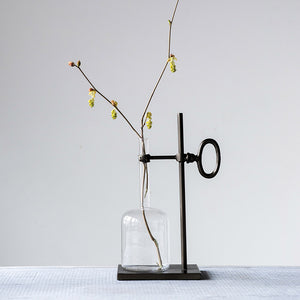 Glass Rooting Vase for Cuttings with Metal Stand / Single Stem Glass Vase