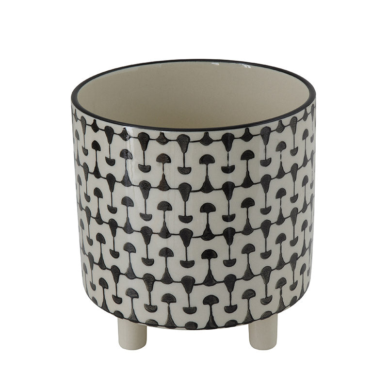 Minimal Black & White Round Ceramic Planter