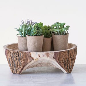 Wood Footed Plant Stand