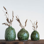 Ceramic Dark Green Glaze Distressed Vases (set of 3)