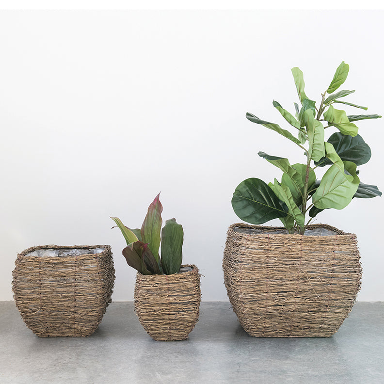 Bamboo Branch Baskets / Plant Baskets / Bamboo Planters (set of 3)