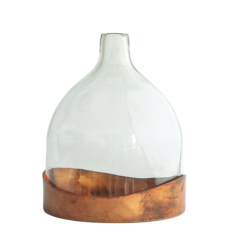 Glass Vase w/ Copper Finished Tray