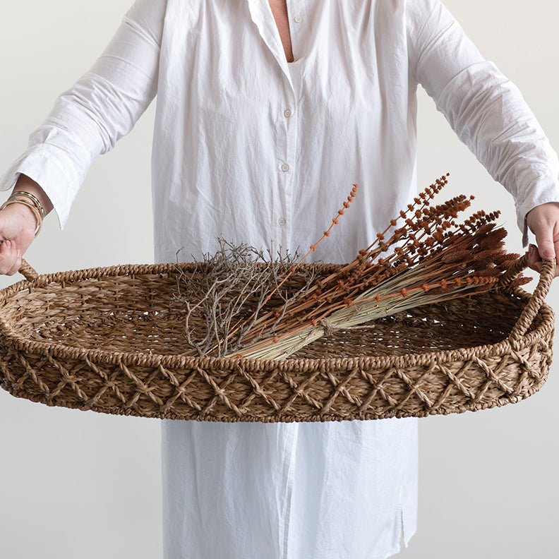 Oval Seagrass Tray with Handles