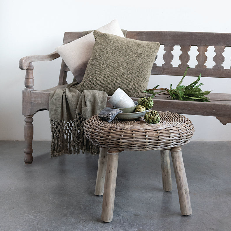 Wicker Plant Stand / Wicker Foot Stool