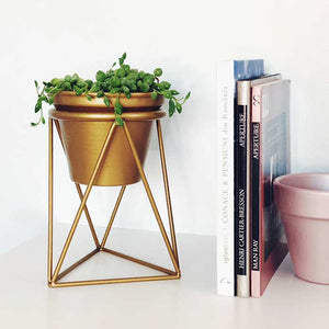 Gold Planter with Plant Stand