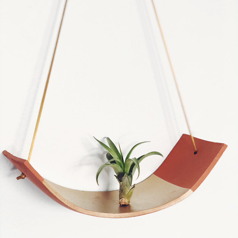 Gold Ceramic Hanging Plant Holder / Air Plant Holder / Plant Hanger