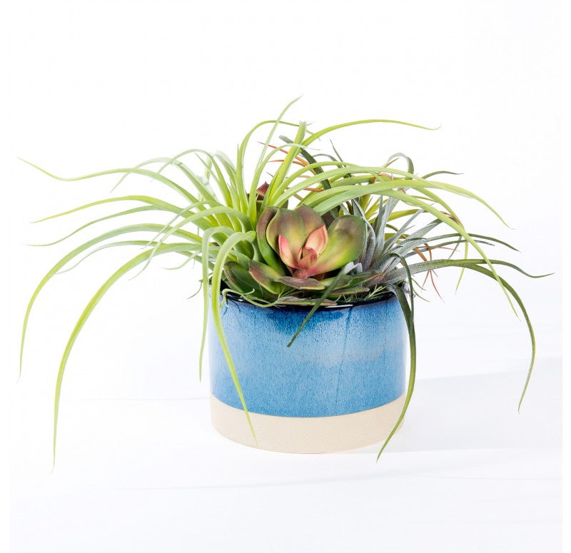 Large Handmade Blue Ceramic Planter