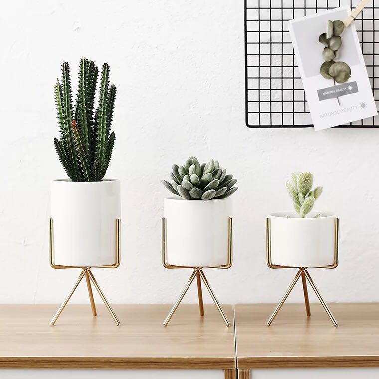 White Ceramic Planter With Metal Plant Stand