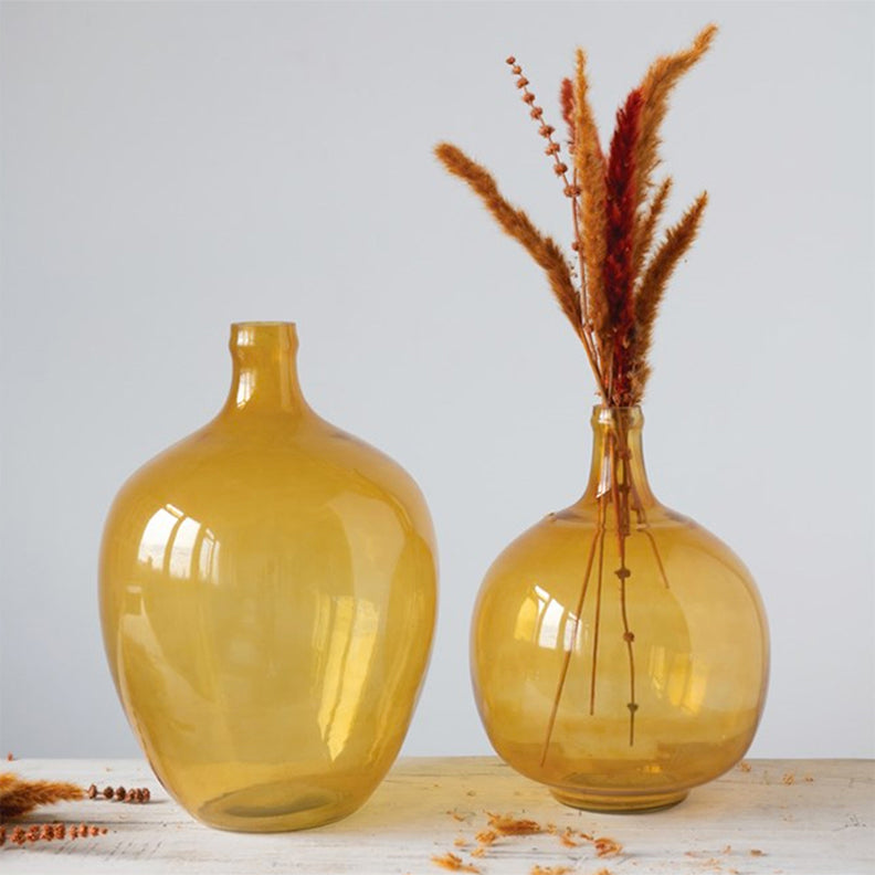 Mustard Glass Bottle Vase