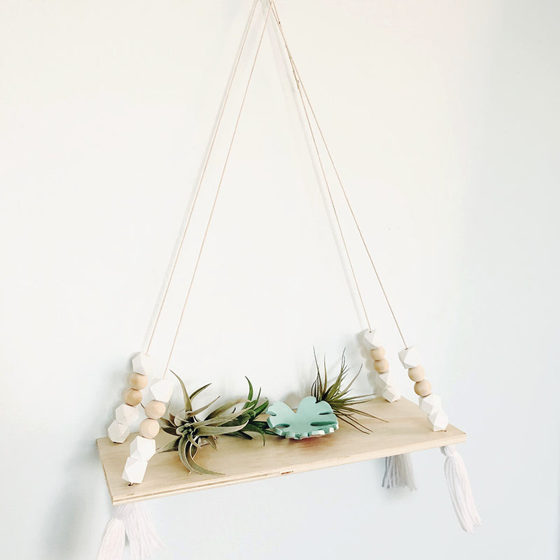 Hanging Plant Shelf with Tassels
