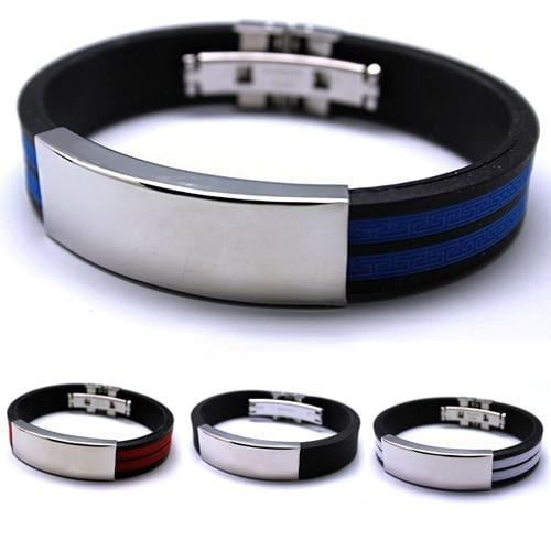 Mens Stainless Steel Bracelet Rubber Black Silver Multi colour Fashion jewelry Sport