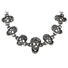 Skull skeleton choker necklace women biker jewelry