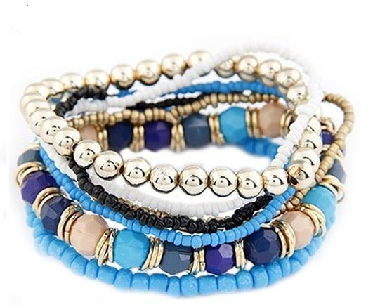 Fashion New Women Wholesale  Multilayer Acrylic Beads Beach Bracelet & bangles