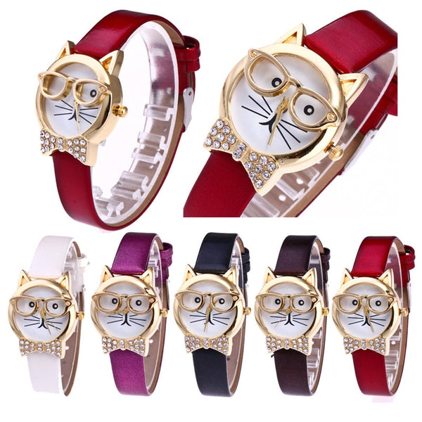 Fashion Clock Cute Cartton Glasses Cat Analog Quartz Dial Wrist Ladies Watch