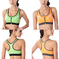 Sports Bra Front Zipper  Running Exercise Tops