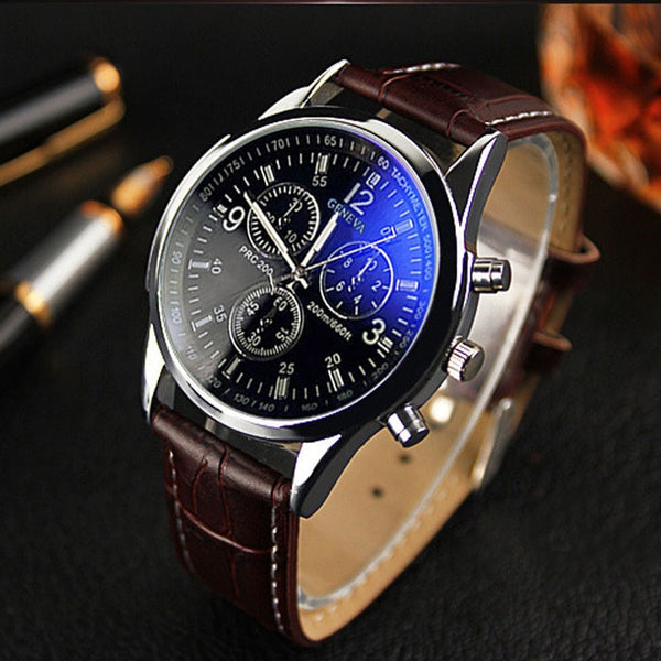 Faux Leather Men Clock Analog Business Dress Quartz Watches