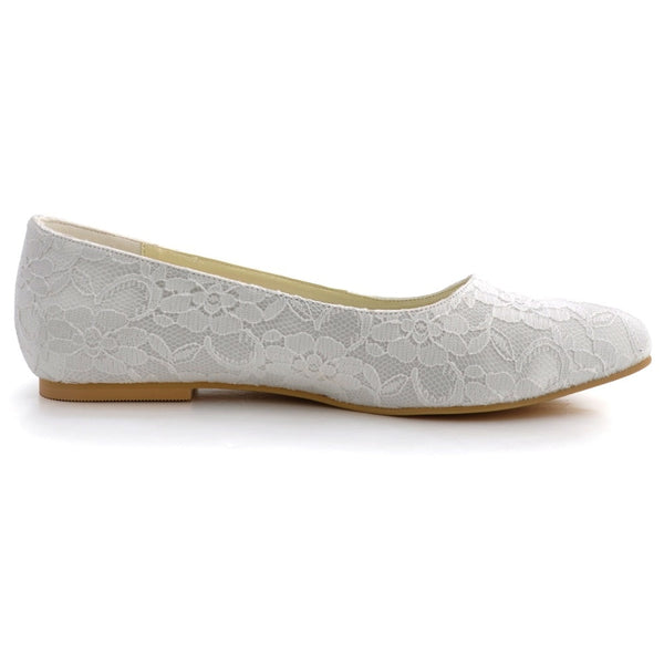 Elegant White Ivory Women Shoes Bridal Party Flats