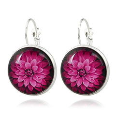Women Elegant Round Drop Earrings Crystal Jewelry