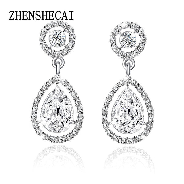 Crystal Teardrop Long Earrings Bridal Large Drop Earrings