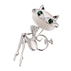 Crystal Enamel Cat Eye  Brooch for Women