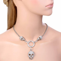Skull Bone Skeleton Pendant Necklace Austrian