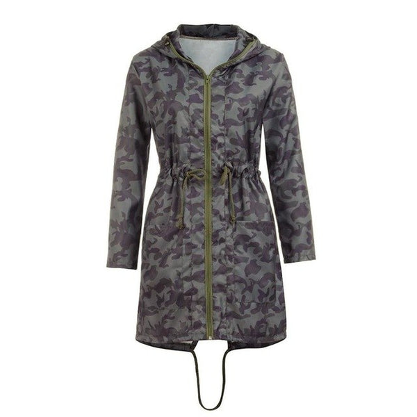 Drawstring Womens Long Sleeve Coat Jacket Outwear