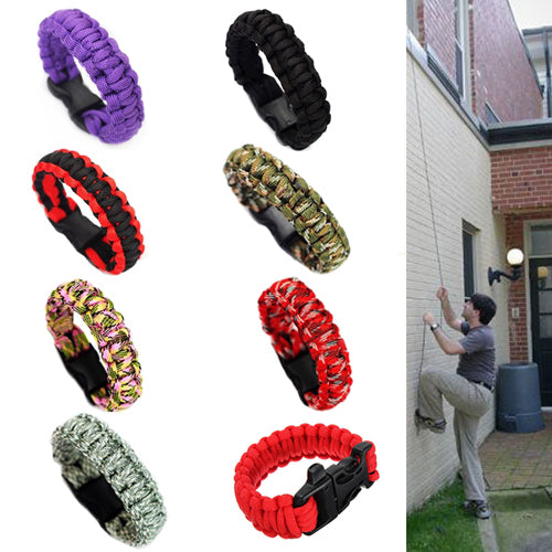 Men Self-rescue Parachute Cord Bracelets Whistle Buckle Survival Camping Travel Kit