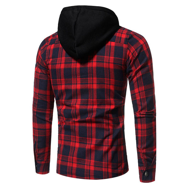 Men's Autumn Winter Long Sleeved Plaid Hooded coat jacket
