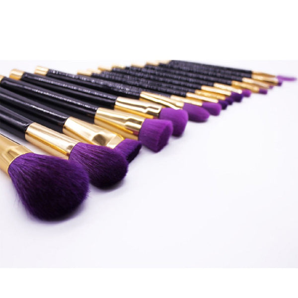 5pcs Purple Makeup Brushes Set Synthetic Hair