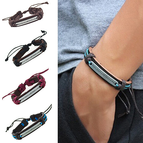 Men's Women's Punk Letter Faux Leather Bangle Hemp Rope Wristband Bracelet