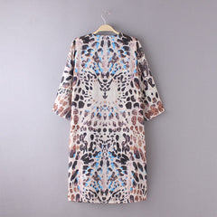 Women Leopard Printed Chiffon Shawl Cover up Swimsuit