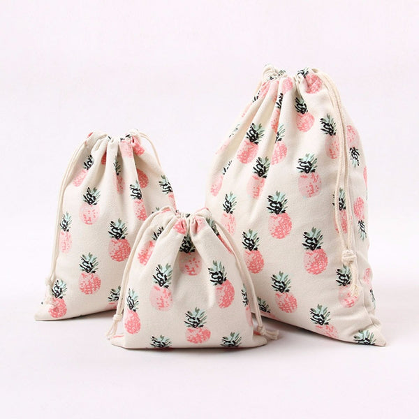 Women's Pineapple Printing Drawstring Beam Bag