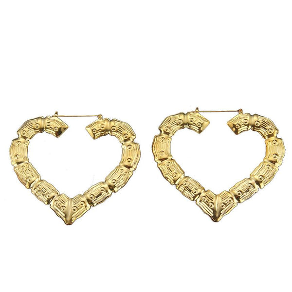 Bamboo Earrings Gold and Silver Ladies Hoop