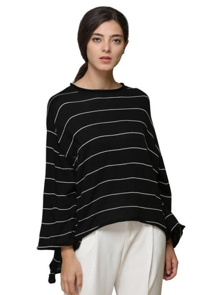 Women's Long Sleeve Tops Striped Crewneck Sweaters