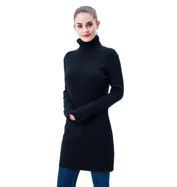 Women's Ribbed Casual Solid Long Pullover Sweater