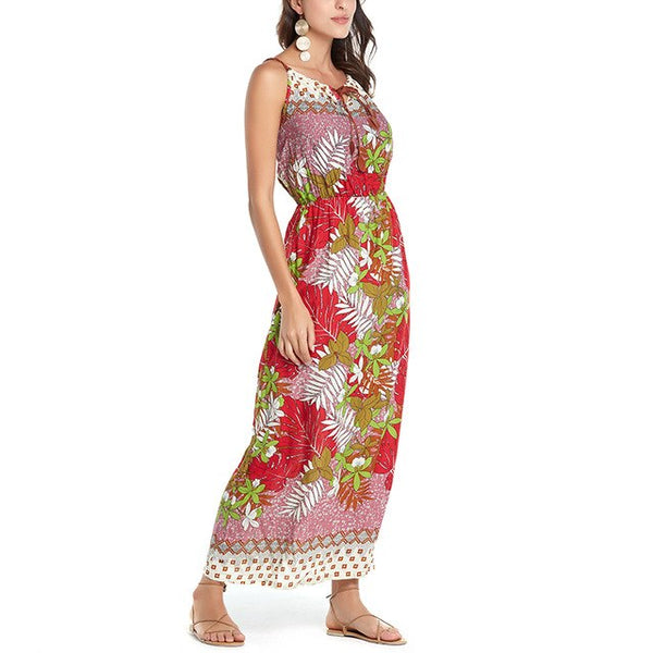 Summer Beach Women Floral Print Long Maxi Dress